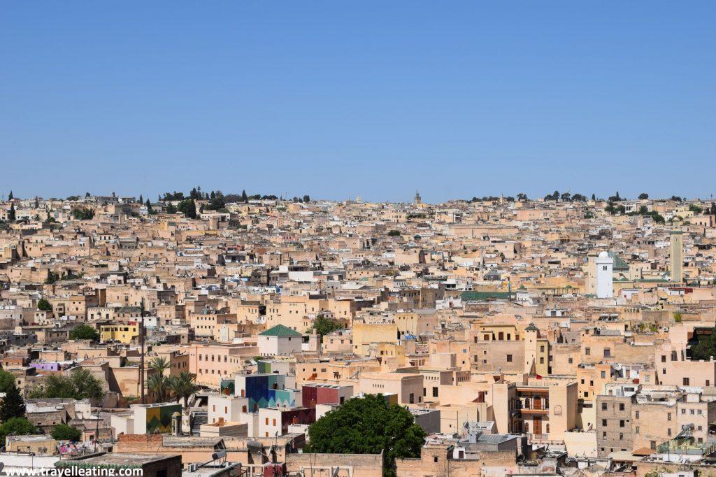 Vistas de la medina de Fez desde la azotea del riad.