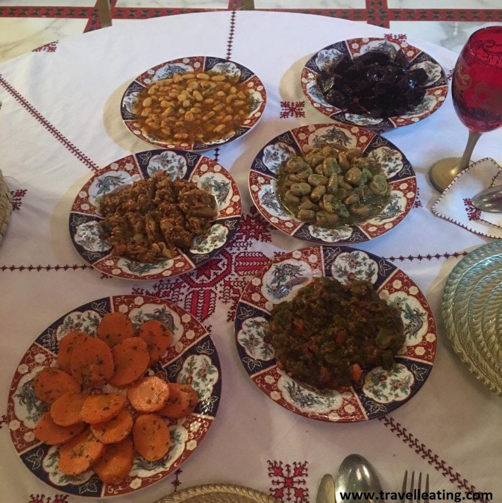 Ensaladas de verduras marroquíes.