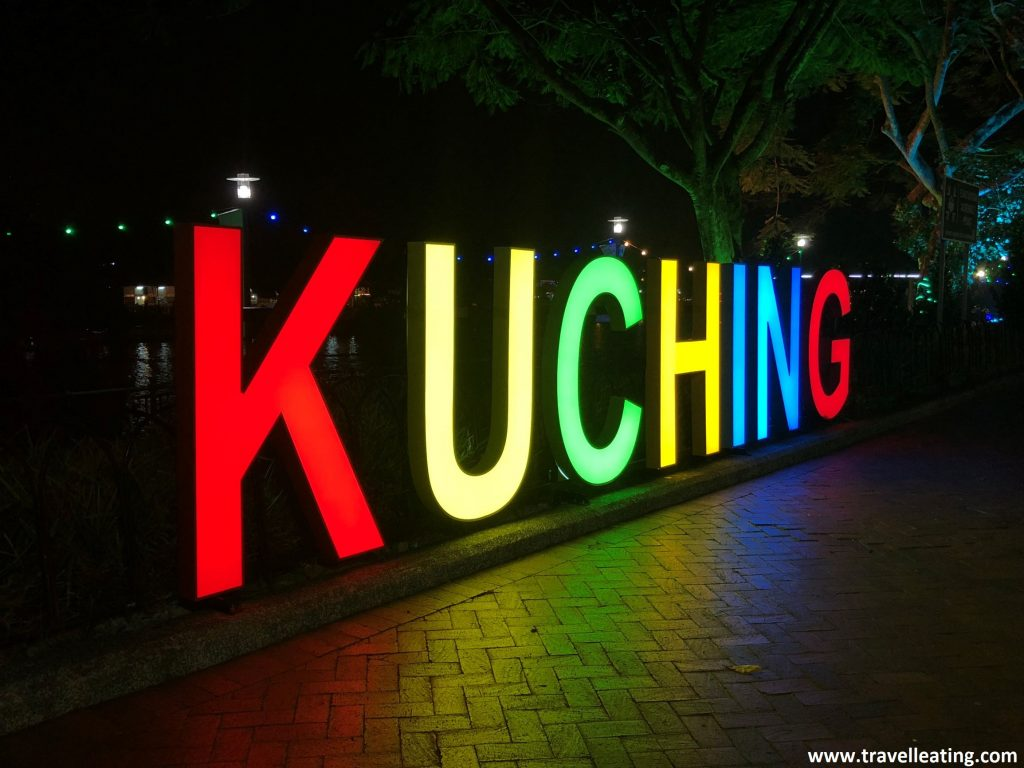 Letras de Kuching en el waterfront.