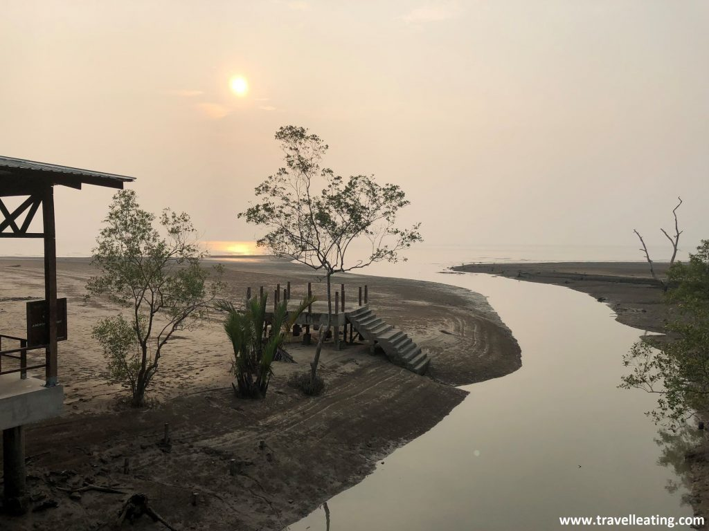 Puesta de sol en el Parque Nacional de Bako, Borneo.