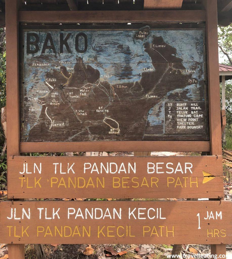 Indicaciones y mapa del Parque Nacional Bako. Borneo, Malasia.