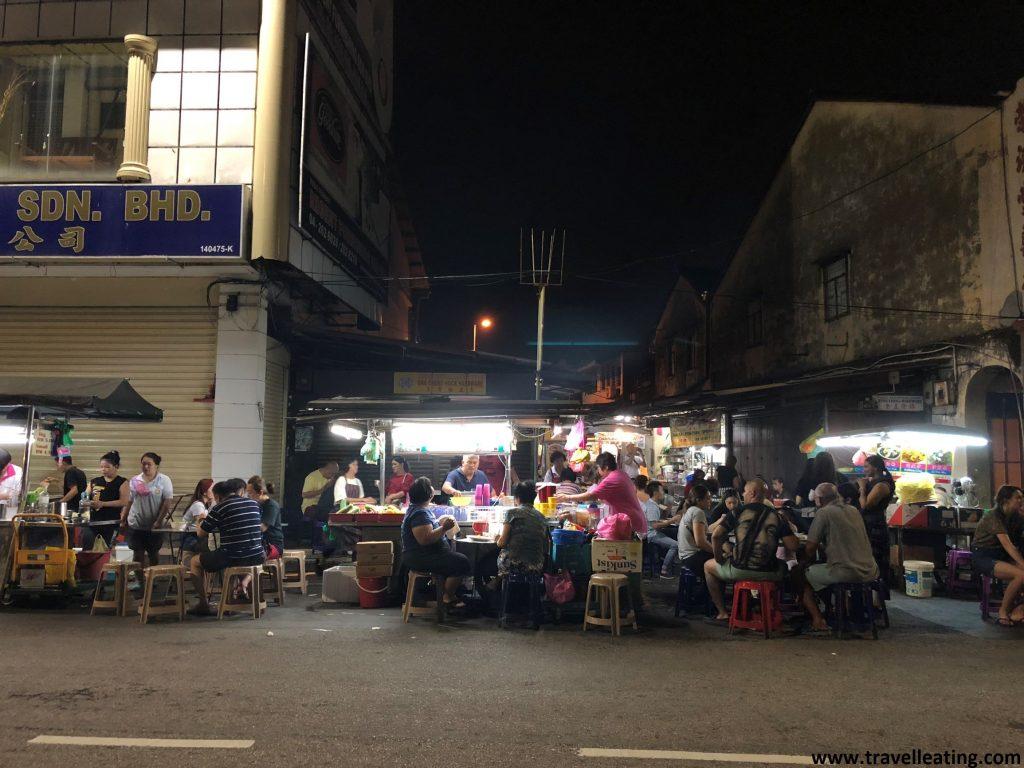 Calle Chulia y sus puestos de comida callejera.