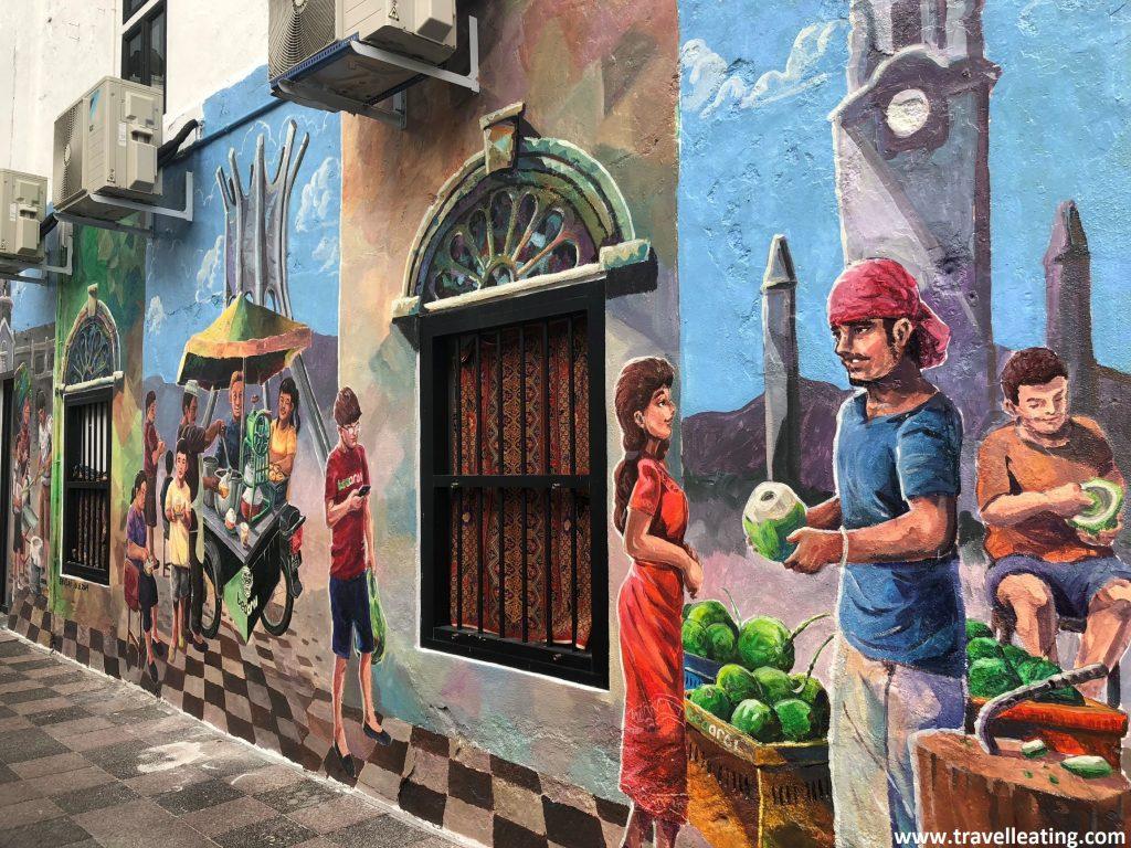 Street art en el centro de la ciudad. Ipoh, Malasia.