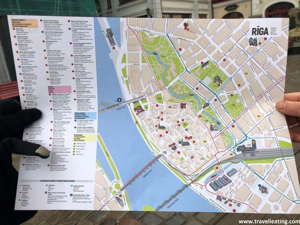Mapa de la ciudad de Riga y sus principales lugares de interés. Lo conseguimos en la Oficina de Información turística.