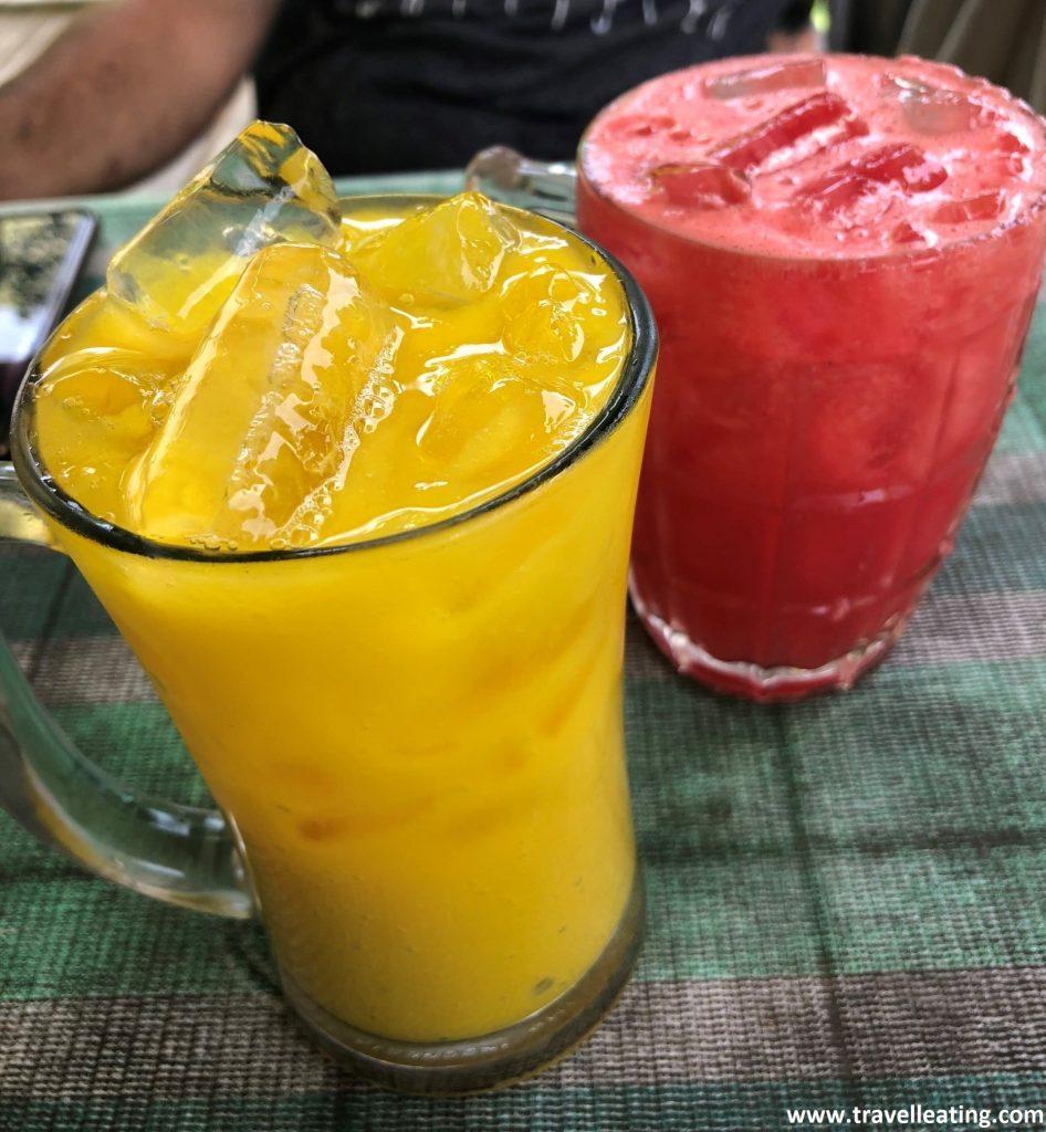 Zumo de mango y de sandía en el Ewan's Restaurant. Perhentian Kecil.