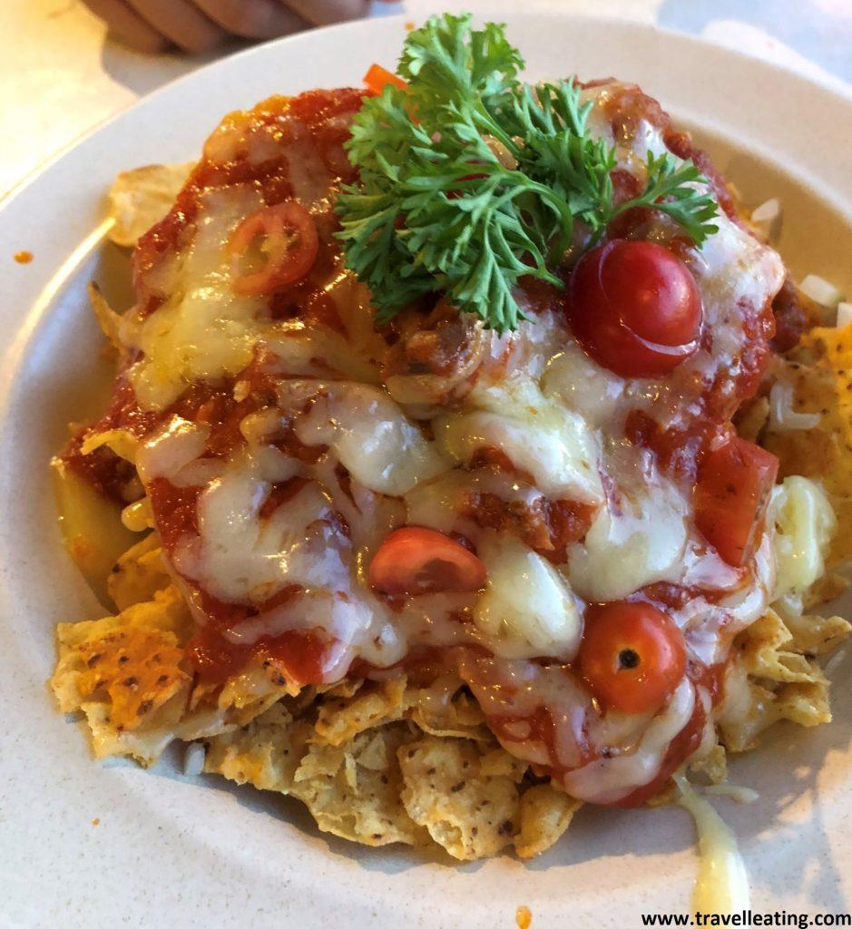 Nachos con queso del Tuna Resort Restaurant en Perhentian Besar.