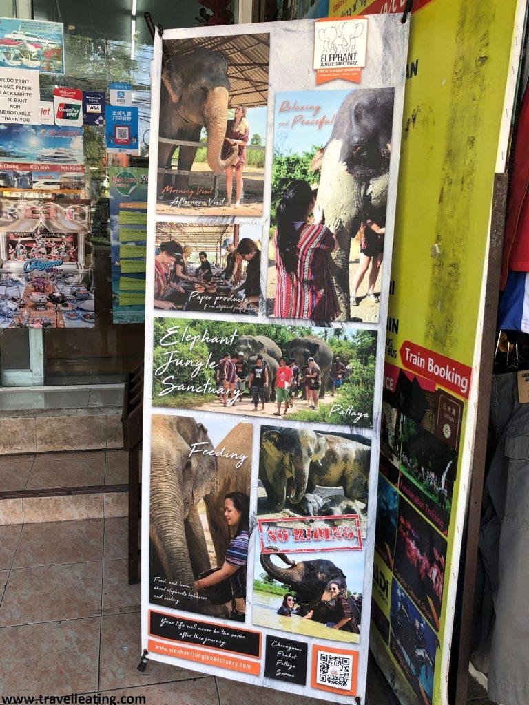 Cartel que anuncia con foto de gente tocando y bañando elefantes los falsos santuarios que encontramos en Tailandia.
