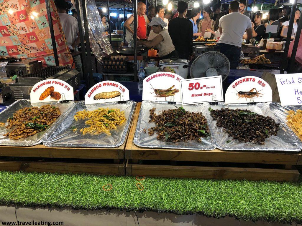 Puesto de comida en un mercado nocturno en el que hay expuestos bandejas con grillos, saltamontes y gusanos fritos.