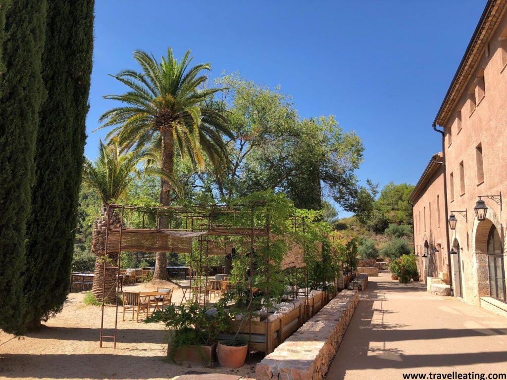 Edificio de piedra que corresponde a una antigua masia reformada, con una preciosa terraza de tonos marrones con palmeras.
