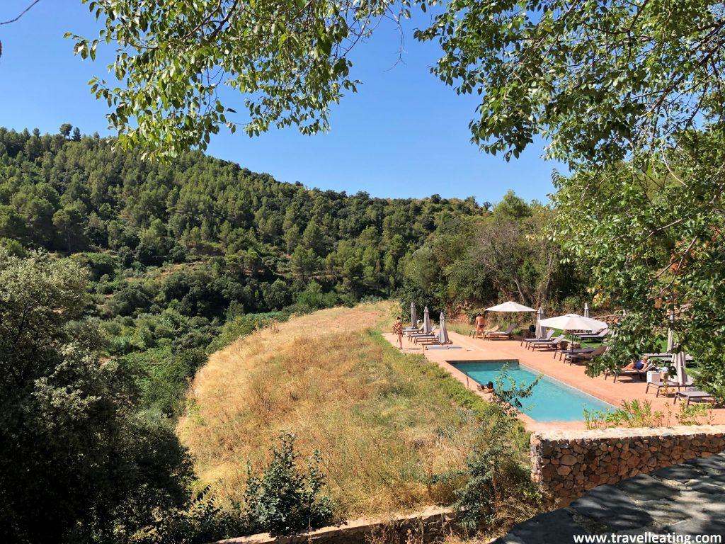 Piscina tipo infinita que se encuentra situada al final de una colina, con viñedos que se extienden frente a ella.