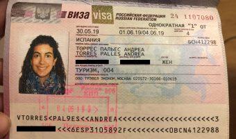 Mi visado ruso en mi pasaporte.